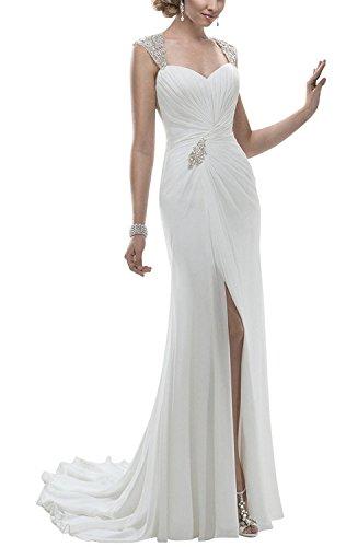 S H Wedding Gown White Prom Dress D Straps Sexy Backless Mermaid Women's Split FqXdwXr