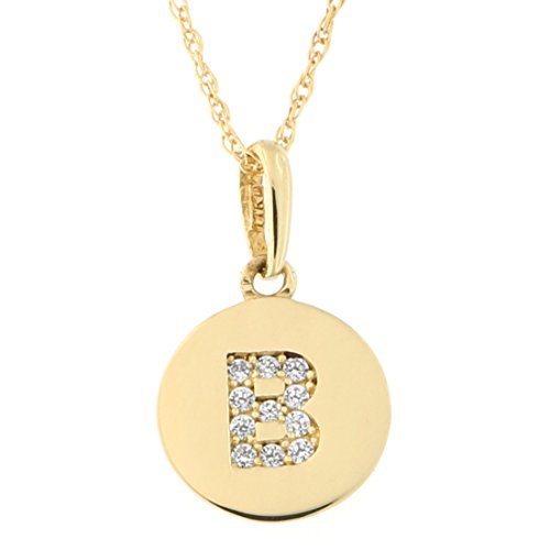 14k Yellow Gold Cubic Zirconia Tiny Round Disc Initial Necklace, B, 20 Inches