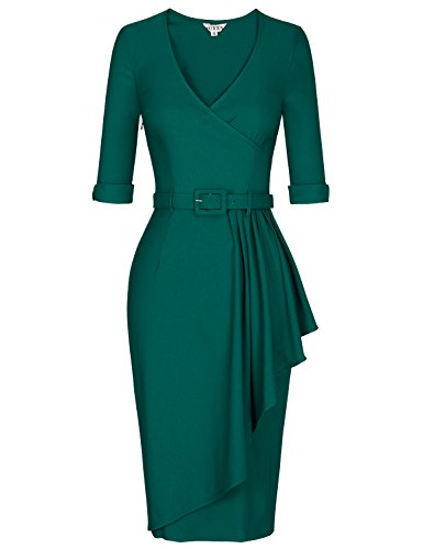 MUXXN Womens Flattering Deep V Neck Stretch Tunic Office Business Pencil Dress (Dark Green M)