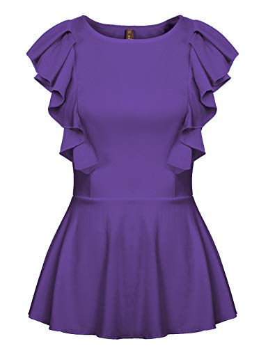 Women's Sleeveless Ruffle Peplum Shirts Solid Slim Fit Work Blouse Tops Purple S - Free Ruffle Top