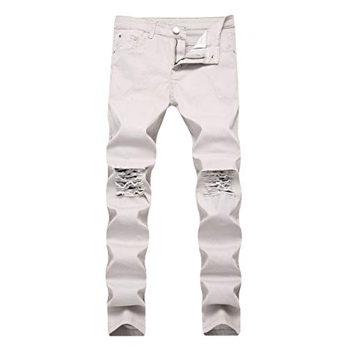 (Coolred-Men Denim Pants Stonewashed Twill Trousers Big & Tall Slim Fit Jeans Light Grey 37)