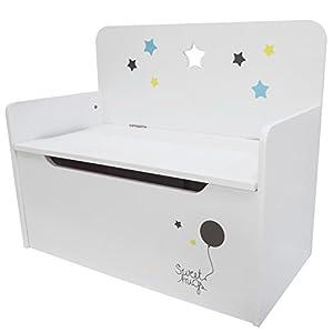 Timy Wooden Kids Storage Bench Toy Chest White