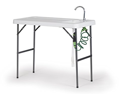 Organized Fishing FTPFC-118 Fish Fillet and Cleaning Table or Portable Folding Gardening Table with Sink, Drain, Faucet and Spray Cleaner, 45.1