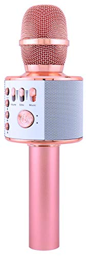 Wireless Bluetooth Karaoke Microphone + FREE Gift, 4-in-1 Portable Handheld karaoke Mic Home Party Birthday Speaker Machine for iPhone/Android/iPad/Sony, PC and All Smartphone(Rose Gold) by DaCalie by DaCalie