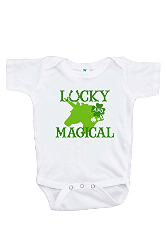 7 ate 9 Apparel Girl's St Patrick's Day Unicorn Onepiece 0-3 - The Baby Ate