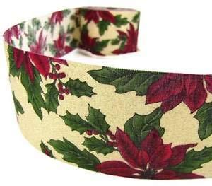 (5 Yd Christmas Poinsettia Glitter Craft Beige Ribbon 2 5/8