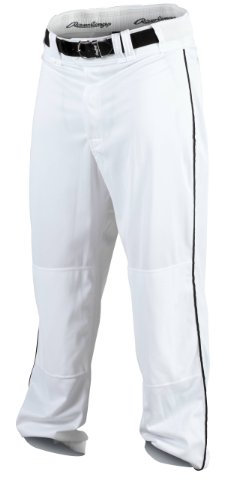 Rawlings Men's Baseball Pant (White/Black, Medium)
