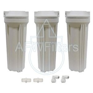 10'' Filter Housing Replacement Kit - 3 Filter Housings w/Fittings For RO Systems, Drinking Water System, and all 10'' x 2.5'' Filters by Abundant Flow Water