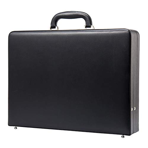 (Hard Attache Briefcases for Men & Women/Bonded Leather Slim Hard-sided Laptop Cases with Combination Locks - Black)