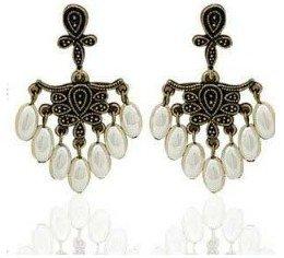 Topstaronline (TM) Retro Gorgeous Court Style Water Drop Imitation Pearl Earrings
