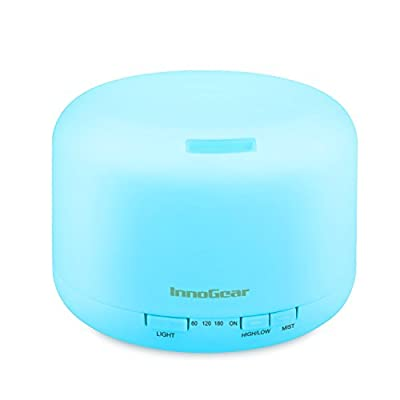 InnoGear 500ml Aromatherapy Essential Oil Diffuser Cool Mist Humidifier Waterless Auto Shut-off with 4 Timers and 7 LED Color Changing Lights