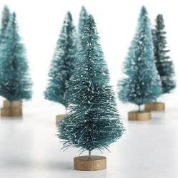 20 Miniature Christmas Sisal Forest Trees Tall on Wooden Bases