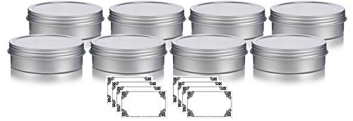 4 oz Metal Steel Tin Flat Container with Tight Sealed Twist Screwtop Cover (8 pack) + Labels
