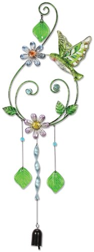 Sunset Vista Design Studios Metal and Glass Wind Chime, Hummingbird