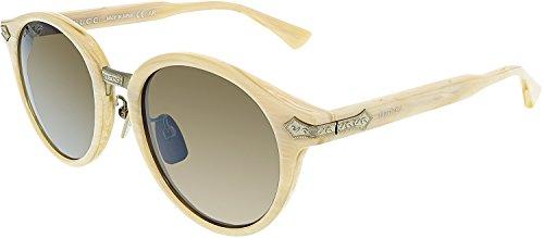 Gucci GG 0066S 002 White Horn Plastic Round Sunglasses Brown - White Mens Gucci Sunglasses