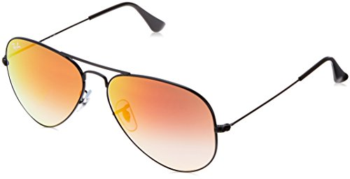 Ray-Ban 3025 Aviator Large Metal Mirrored Non-Polarized Sunglasses, Shiny Black/Mirror Gradient Orange (002/4W), 58mm by Ray-Ban