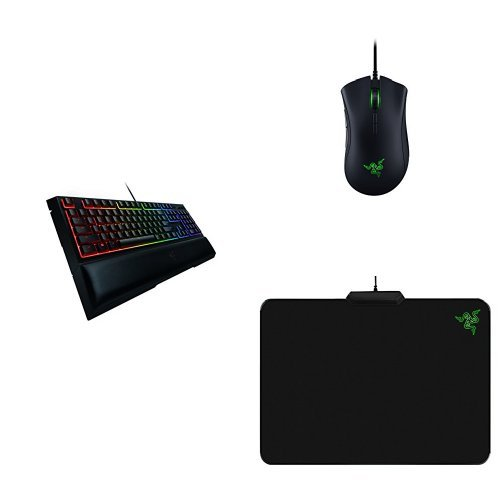 Razer Ornata Chroma – Mecha-Membrane Gaming Keyboard with Mid-Height Keycaps +  Deathadder Elite Gaming Mouse + Firefly Chroma Cloth Mouse Mat Combo