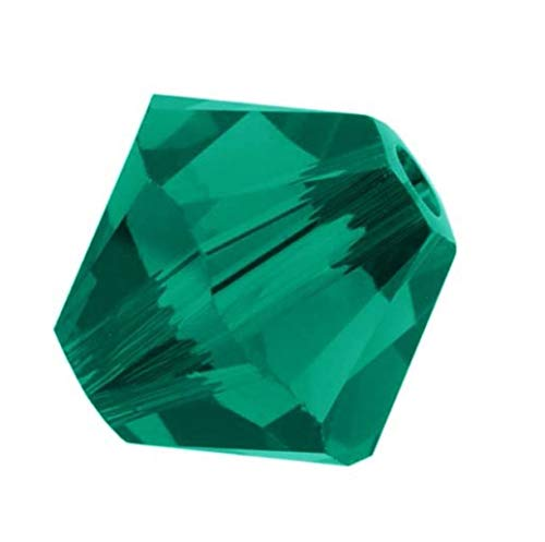 100pcs 4mm Adabele Austrian Bicone Crystal Beads Emerald Green Compatible with Swarovski Crystals Preciosa 5301/5328 ()