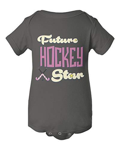 Hockey Future Field Hockey Star Graphic Short Sleeve Summer Romper Bodysuit (Charcoal,12M)