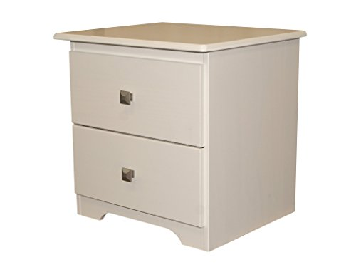 Bedz King 2 Drawer Nightstand, White (Pine Pewter Pulls)