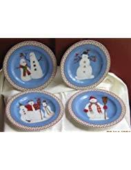 Debbie Mumm Snowman 8 Inch Dessert Plates By Sakura -
