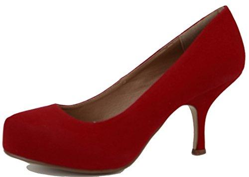 shoeFashionista Ladies Platform Work Pumps Low Mid Heels Stiletto Court Shoes Size Red Suede