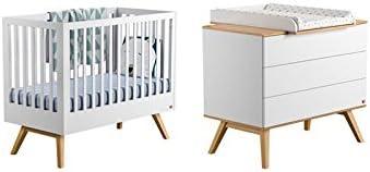 Vox Pack Cuna 60 x 120 cm, Color Blanco + colchón + cómoda Cambiador 3 tioirs + Plan Cambiador Nature: Amazon.es: Hogar