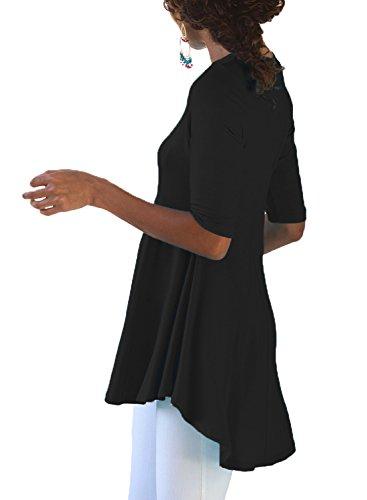 Dokotoo Noir Manches Femme Courtes Chemisier 11rR8