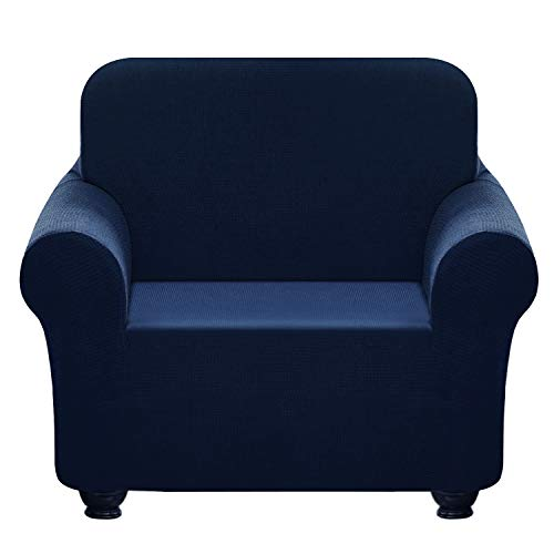Chelzen Stretch Sofa Covers 1-Piece Polyester Spandex Fabric Living Room Couch Slipcovers (Chair, Navy Blue)