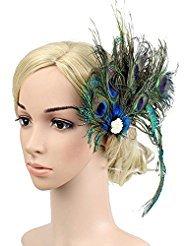 Peacock Feather Hairclip Fascinator Hair Pin Rhinestones Headband Party Girls