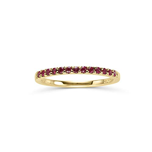 - 14K Yellow Gold 1/4 Cttw Genuine Ruby Stackable 2MM Wedding Anniversary Band Ring - July Birthstone, Size 6.5