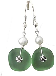 """product image for Handmade jewelry from Hawaii, peridot green sea glass earrings,""""August Birthstone"""", freshwater pearl, (Hawaii Gift Wrapped, Customizable Gift Message)"""