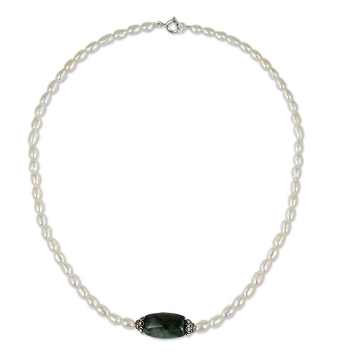 NOVICA Jade White Cultured Freshwater Pearl .925 Sterling Silver Necklace, 16.25