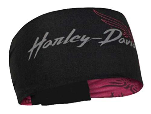 Harley-Davidson Women's Edgy Reversible Headband, Black & Burgundy HP32181