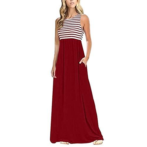 Toponly Women Summer Boho Striped Tank Dress Short Sleeves Crew Neck BeachMaxi Dresses Party Long Sundress with Pockets -