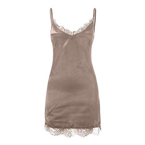 (URIBAKE ♥️ Women's Sexy Strappy Dress Soft Satin Lace Hem Nightdress Sleeveless Sleepwear Mini Dress Khaki)
