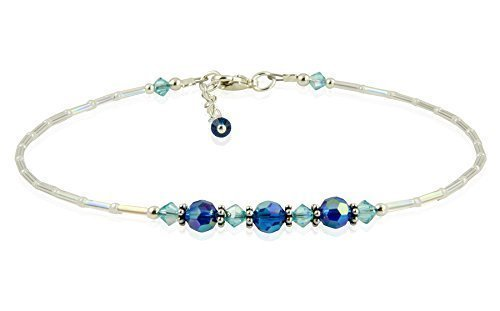 9f3981122 Amazon.com: Neptune - Iridescent Something Blue Crystal Anklet, Wedding  Anklets, Blue Anklets: Handmade