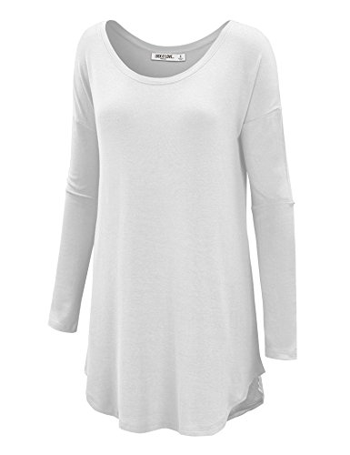 LL WT1103 Womens Boat Neck Long Sleeve Shirttail Tunic Top S WHITE