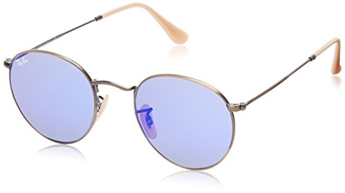 Ray-Ban ROUND METAL - DEMIGLOS BRUSCHED BRONZE Frame BLUE MIRROR Lenses 50mm - Lens Ray Ban Blue Mirror