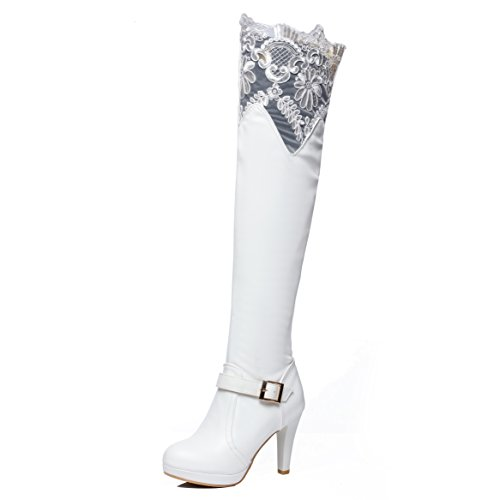 JIAME Ladies Womens Sexy Bud Silk Lace Over The Knee Thigh High Platform Heel Stretch Boots (8.5 B(M) US, White) (Lace Platforms Stretch)