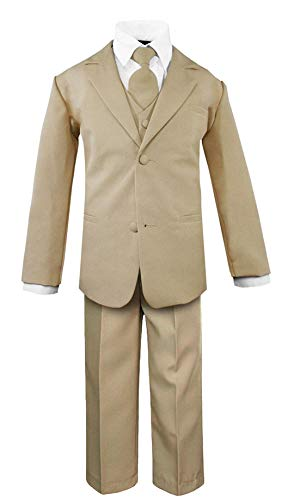 Tan Short Set - Luca Gabriel Toddler Boys' 5 Piece Classic Fit No Tail Formal Khaki Dress Suit Set with Tie and Vest - Size 3T