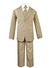 Luca Gabriel Toddler Boys' 5 Piece Classic Fit No Tail Formal Khaki Dress Suit Set with Tie and Vest