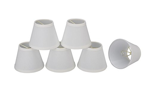 32060-6 Small Hardback Empire Shape Chandelier Clip-On Lamp Shade Set (6 Pack), Transitional Design in White, 5