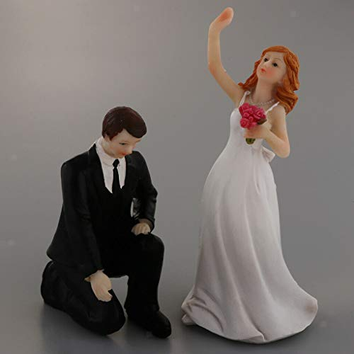 Romantic Wedding Cake Topper Resin Run Away Bride Groom Doll Cake - Toasting Flutes Resin
