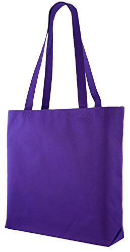 Large Shopping Tote with Shoulder Length Handles (Purple)