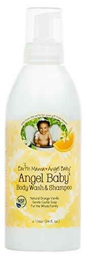 Earth Mama Sweet Orange Baby Wash Gentle Castile Soap for Sensitive Skin, 34-Fluid Ounce