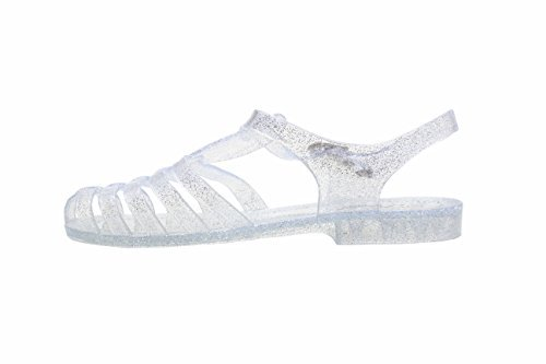 Forever New Women Summer Round Toe T-Strap Retro Beach Jelly Rainbow Clear Glitter Rain Flat Sandal (7.5, Clear)