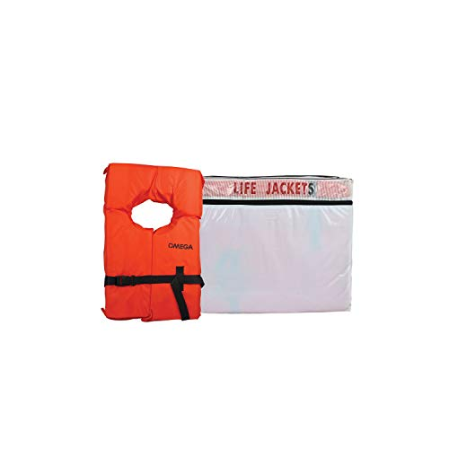 Flowt 40000-UNVPK6 Type II AK-1 Life Jacket, Orange, Adult Universal, Pack of 6 White Storage Bag (Type 2 Vest)