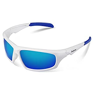 Duduma Tr601 Polarized Sports Sunglasses for Baseball Cycling Fishing Golf Superlight Frame (639 white frame with blue lens)