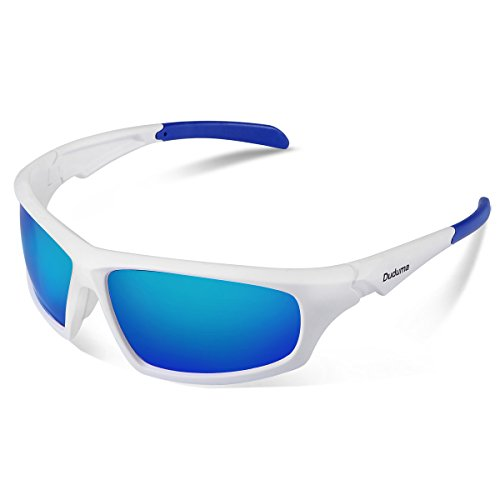 Duduma Tr601 Polarized Sports Sunglasses for Baseball Cycling Fishing Golf Superlight Frame (639 white frame with blue - White Sunglasses Cycling